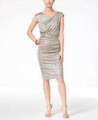 Connected Petite Metallic Draped Sheath Dress Silver