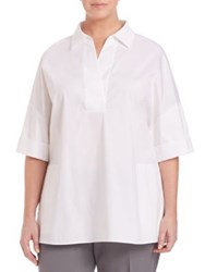 Lafayette 148 New York Plus Size Short Sleeve Cuffed Pullover White