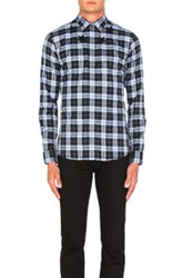 Givenchy Star Collar Shirt In Blue Checkered And Plaid Blue Checkered And Plaid