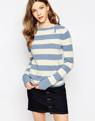 Le Mont St Michel Wool Jumper In Stripe Offwhitepaleblue