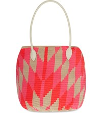 Sophie Anderson Jonas Woven Cotton Tote Pink Coral Beige