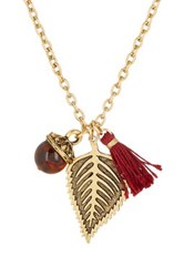 Yochi Design Acorn Leaf And Tassel Necklace Metallic