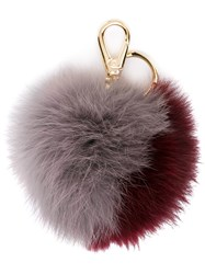 Salvatore Ferragamo Fur Keyring Pink And Purple