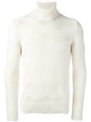 La Fileria For D'aniello Jacquard Turtleneck Jumper White