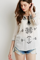 Forever 21 Embroidered Gauze Peasant Top Cream Black