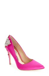 Badgley Mischka Women's 'Gorgeous' Crystal Embellished Pointy Toe Pump Carmine Pink Satin
