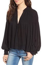 Sun And Shadow Women's Smocked Peasant Top