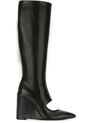J.W.Anderson J.W. Anderson Cut Out Wedge Boots Black