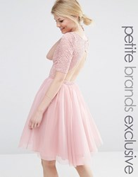 John Zack Petite Lace Bodice Midi Prom Dress With Cut Out Detail Rose Pink