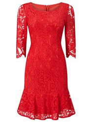 Jacques Vert Petite Peplum Lace Dress Red