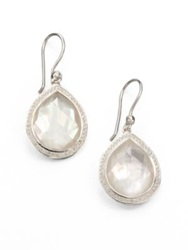 Ippolita Stella Mother Of Pearl Clear Quartz Diamond And Sterling Silver Doublet Teardrop Earrings