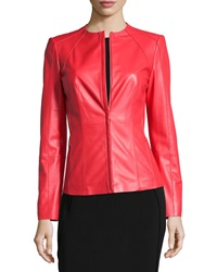 Lafayette 148 New York Long Sleeve Fitted Leather Jacket Rosehip