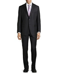Hickey Freeman Pinstripe Two Piece Suit Black