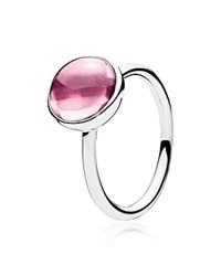 Pandora Design Pandora Ring Sterling Silver And Crystal Pink Poetic Droplet