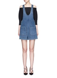 Tibi Denim Cargo Short Overalls Blue