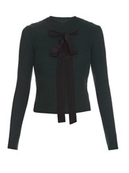 Rochas Bow Front Ribbed Knit Sweater Green