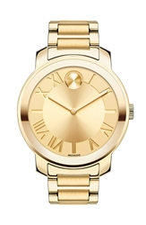 Movado 'Bold' Roman Numeral Index Bracelet Watch 39Mm Gold