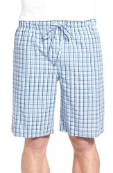 Nordstrom Men's Plaid Pajama Shorts White Blue Navy Check
