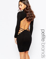 Boohoo Petite Open Back Longsleeve Mini Dress Black