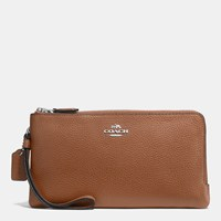 Coach Double Zip Wallet In Polished Pebble Leather Silver Saddle