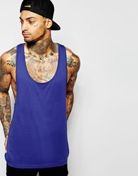 Asos Vest With Extreme Racer Back In Blue Midnight
