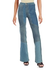 Free People Flared Patchwork Jeans Blue