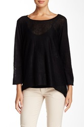 In Cashmere Linen Flare Blouse Black