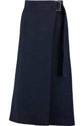 J.W.Anderson Wrap Effect Wool Blend Twill Midi Skirt Navy