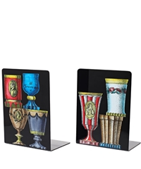 Fornasetti Black Bicchieri Lacquered Metal Bookends Home Liberty.Co.Uk