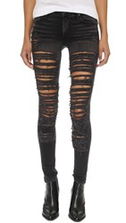 True Religion Halle Shredded Skinny Jeans Grey Shadow