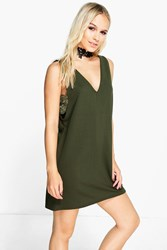 Boohoo Lisa Side Cut Out Lace Trim Mini Dress Khaki