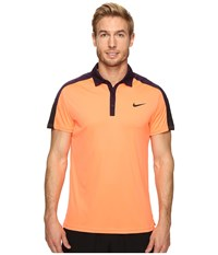 Nike Team Court Polo Bright Mango Purple Dynasty Black Black Men's Short Sleeve Pullover Orange