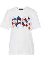 Markus Lupfer Alex Sequined Cotton T Shirt White
