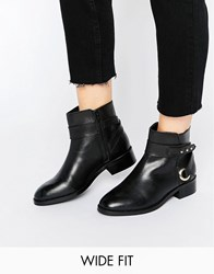 Asos Azure Wide Fit Leather Ankle Boots Black