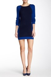 Magaschoni Colorblock Cashmere Tunic Dress Blue