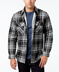 Club Room Men's Big And Tall Decker Plaid Shirt Jacket With Faux Fur Lining Only At Macy's Deep Black