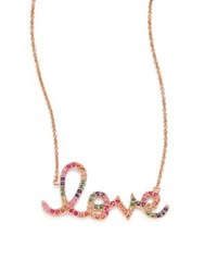 Sydney Evan Large Rainbow Love Ruby Sapphire Emerald And 14K Rose Gold Necklace