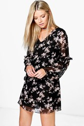 Boohoo Floral With Bell Sleeve Slip Dress Black