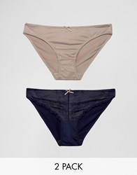 Marie Meili Miu 2 Pack Briefs Blue