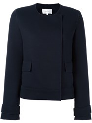 Carven Collarless Jacket Blue