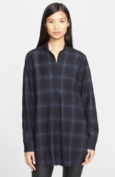Helmut Lang Plaid Wool And Cashmere Flannel Shirt Light Blue