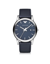 Emporio Armani Luigi Silver Tone Stainless Steel And Navy Leather Strap Men's Watch Navy Blue