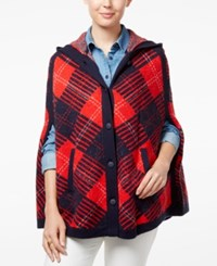 Tommy Hilfiger Helena Hooded Plaid Poncho Masters Navy Multi