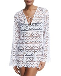 Pilyq Noah Crocheted Tunic Coverup Water Lily