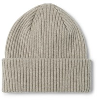 Paul Smith Ribbed Cashmere Beanie Gray
