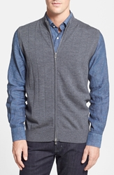 Peter Millar Drop Needle Stitch Merino Wool Full Zip Vest Charcoal
