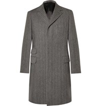Kingsman Herringbone Wool Overcoat Gray