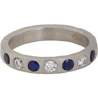 Malcolm Betts Women's Sapphire Diamond And Hammered Platinum Band No Color
