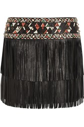 Valentino Fringed Embellished Leather Mini Skirt Black
