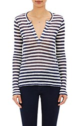 Barneys New York Women's Striped Long Sleeve T Shirt Navy Cream